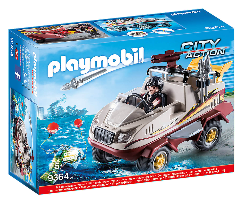 Playmobil 9364 City Action : Véhicule amphibie et bandit