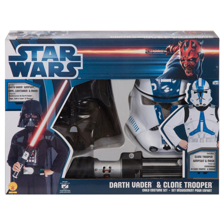 Déguisements Star Wars : Dark Vador avec sabre + Clone : 5/7 ans