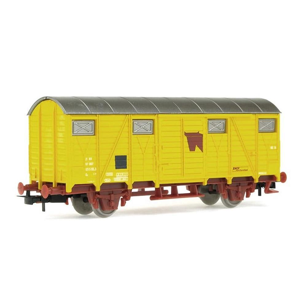 Véhicule pour circuit de train : Wagon couvert à bétail, jaune HO