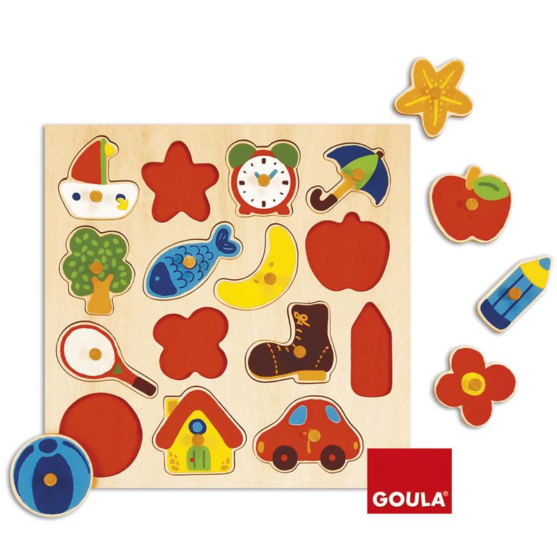 Encastrement 15 pièces en bois : Puzzle silhouettes