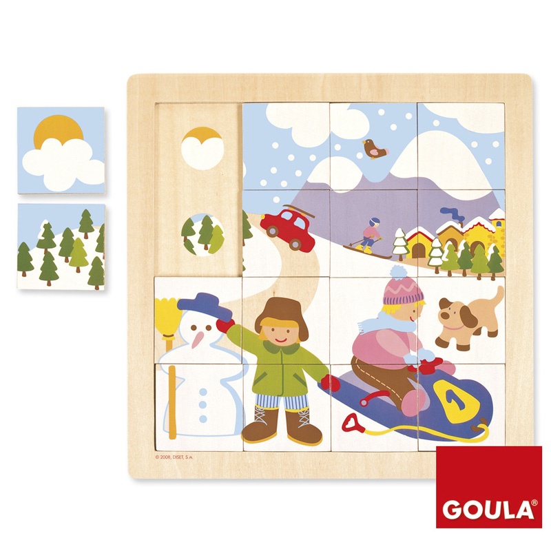 Puzzle 16 pièces en bois : Hiver