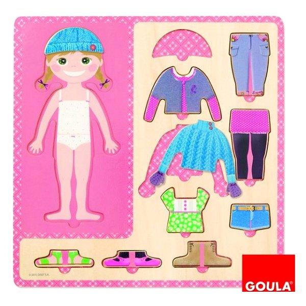 Puzzle 10 pièces en bois : Petite fille s'habille