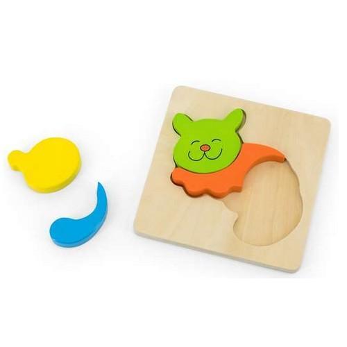 Puzzle en bois à encastrement 4 pièces : Chat