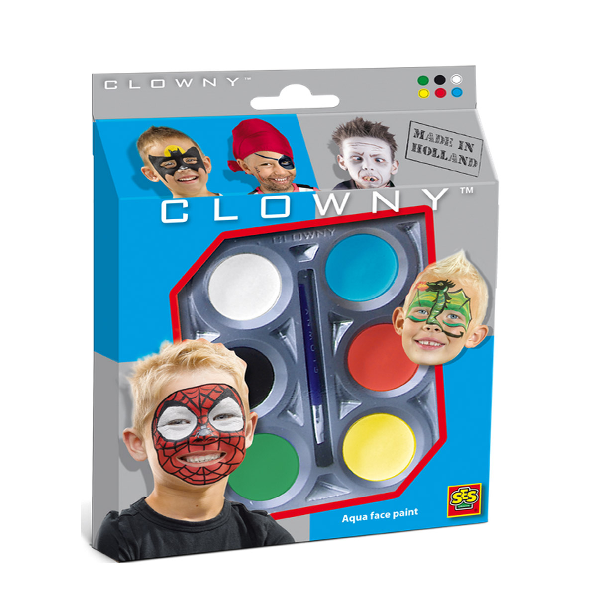 Clowny Maquillage - Aqua 6 couleurs : Héros