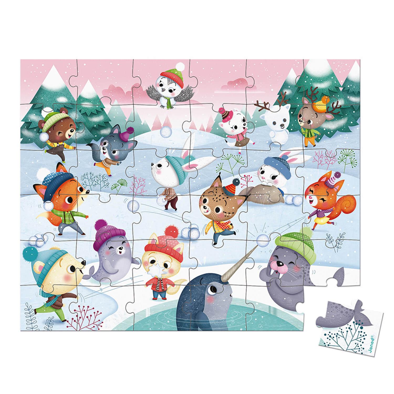 Puzzle 36 pièces : Bataille de boule de neige