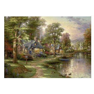 Puzzle 1500 pièces - Thomas Kinkade : La maison sur le lac