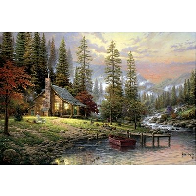 Puzzle 500 pièces - Thomas Kinkade : Maison en pleine montagne