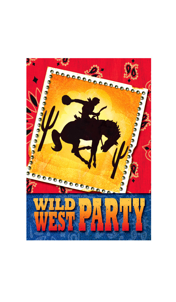 8 Invitations Anniversaire Western Party