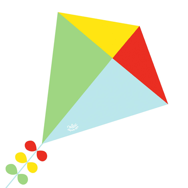 Cerf-volant losange : Bleu, vert, rouge et jaune