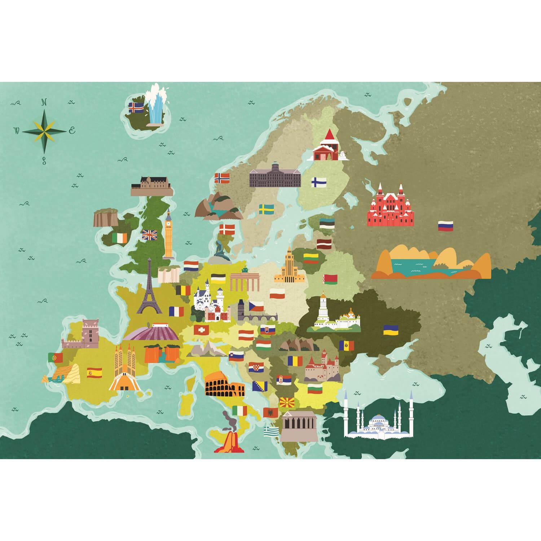 Puzzle 250 pièces Exploring Maps : Europe - Monuments et Merveilles