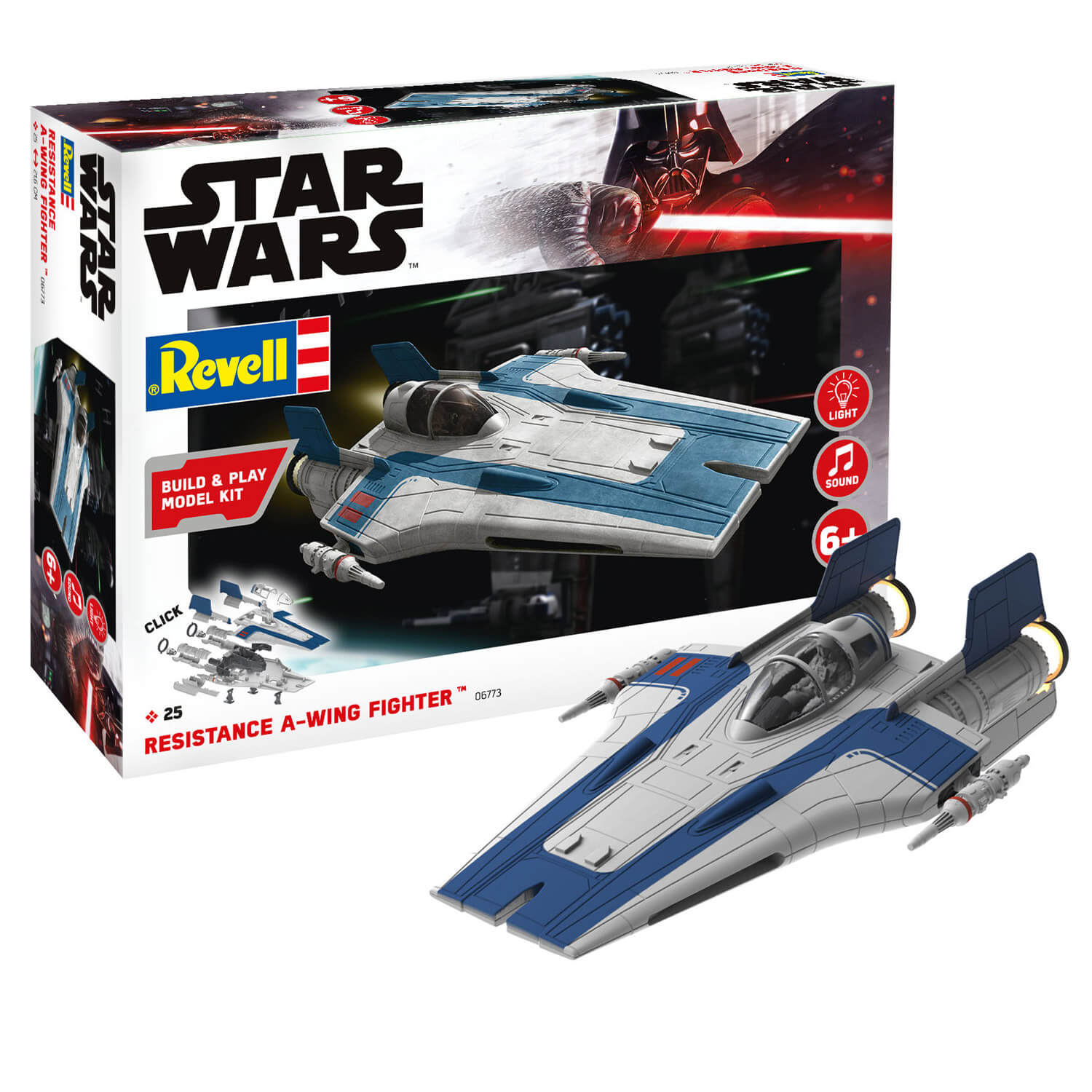 Maquette Star Wars : Build & Play : Resistance A-wing Fighter, Bleu