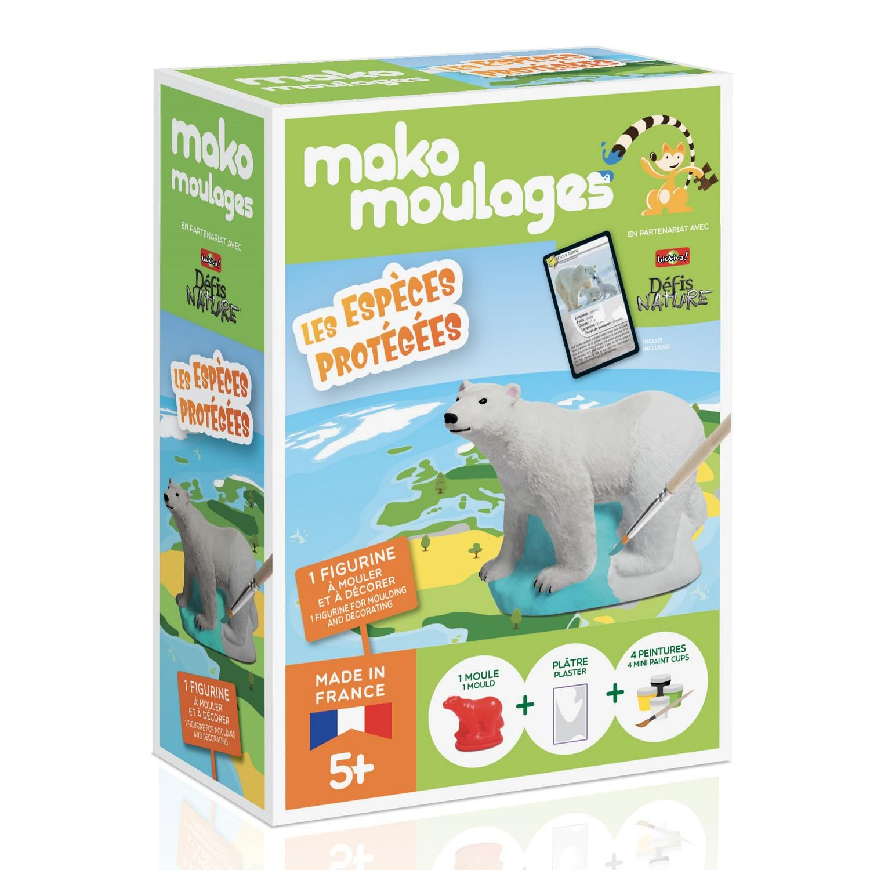 Moulage en plâtre mako créations : ours polaire - Les espèces protégées