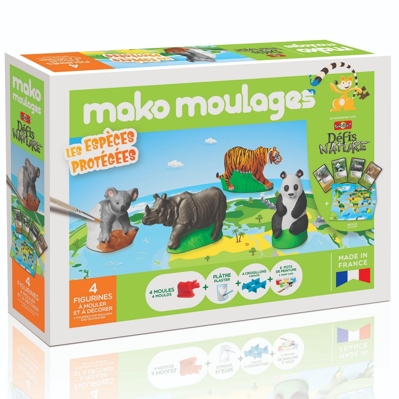 Moulage en plâtre Mako créations : 4 moules -Les espèces protégées