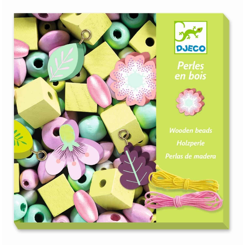 Perles bois : Feuilles et fleurs