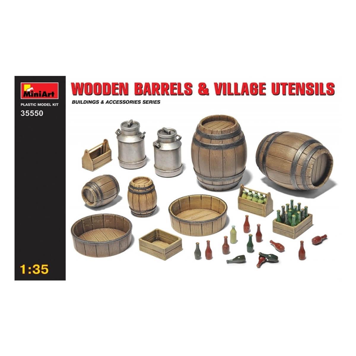 Accessoires de décor de guerre 1/35 : Set d'ustensiles divers et futs en bois
