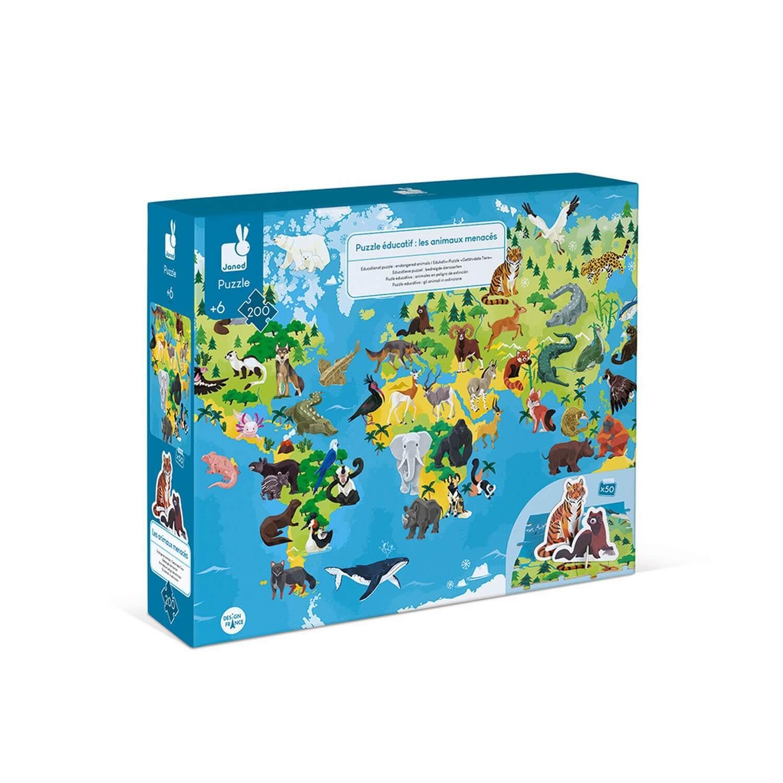 Puzzle éducatif géant 200 pièces : Les Animaux menacés