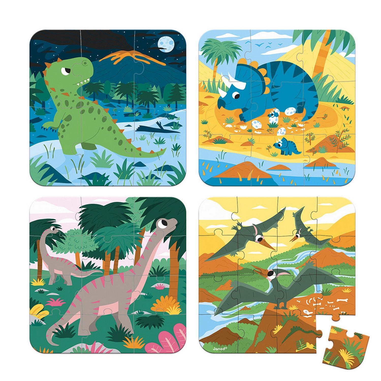 Puzzle de 6 à 16 pièces : 4 puzzles évolutifs : Dinosaures