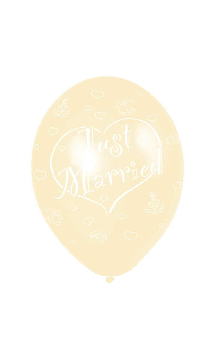 6 Ballons (27,5Cm) « Just Married » - Ivoire