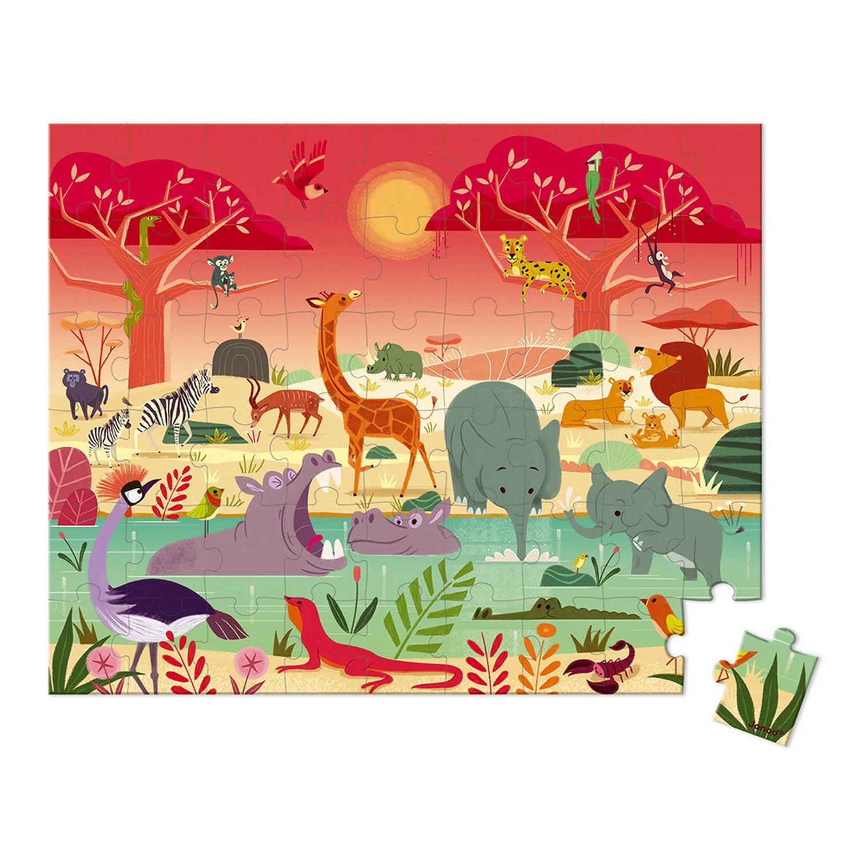 Puzzle 54 pièces : La réserve animalière