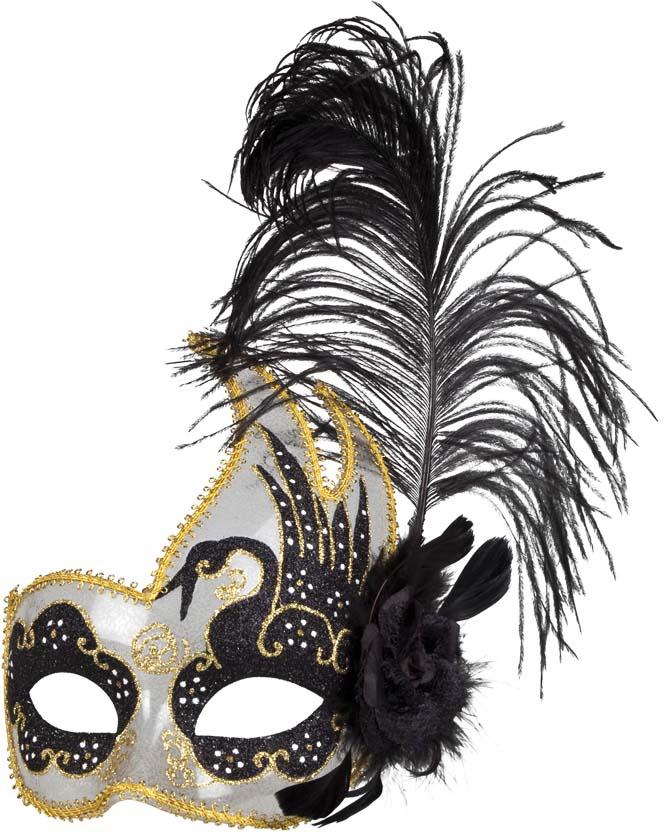 Masque Loup Plume Noir