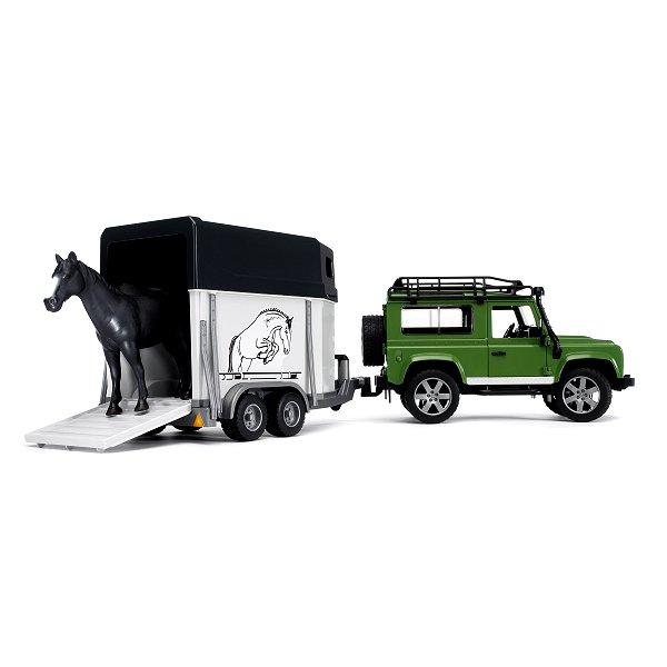 Land Rover Defender 90 Break avec van et figurine cheval