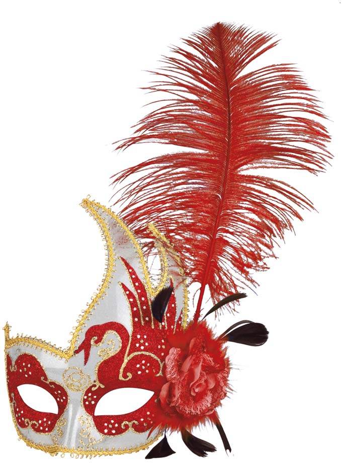 Masque Loup Plume Rouge