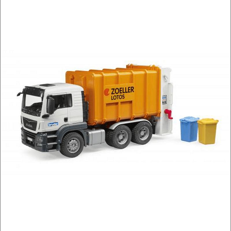 Camion poubelle Man TGS Orange avec 2 poubelles