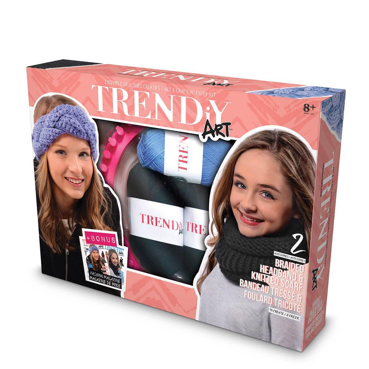 Kit créatif TrendiY Art : Bandeau tressé et écharpe tricotée