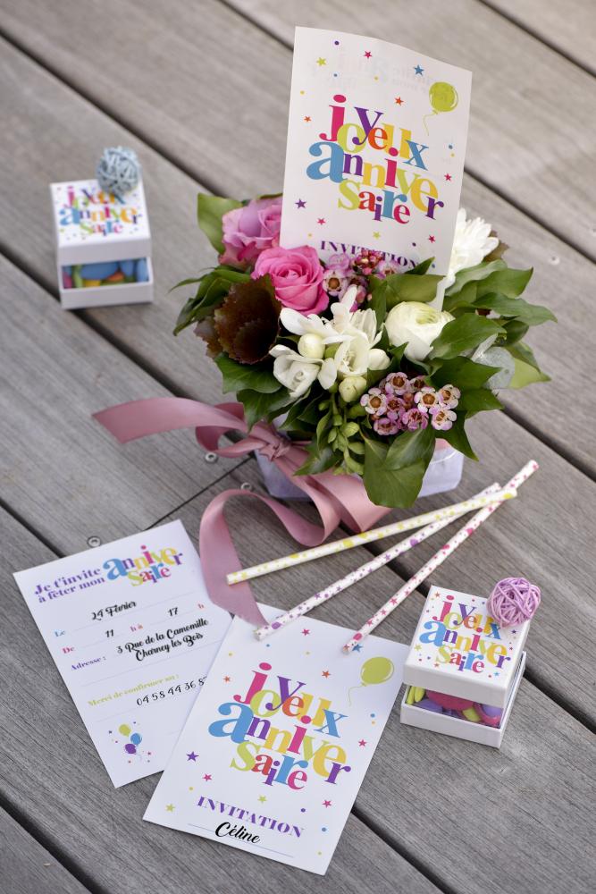 Cartes d'invitation Joyeux Anniversaire Festif x6