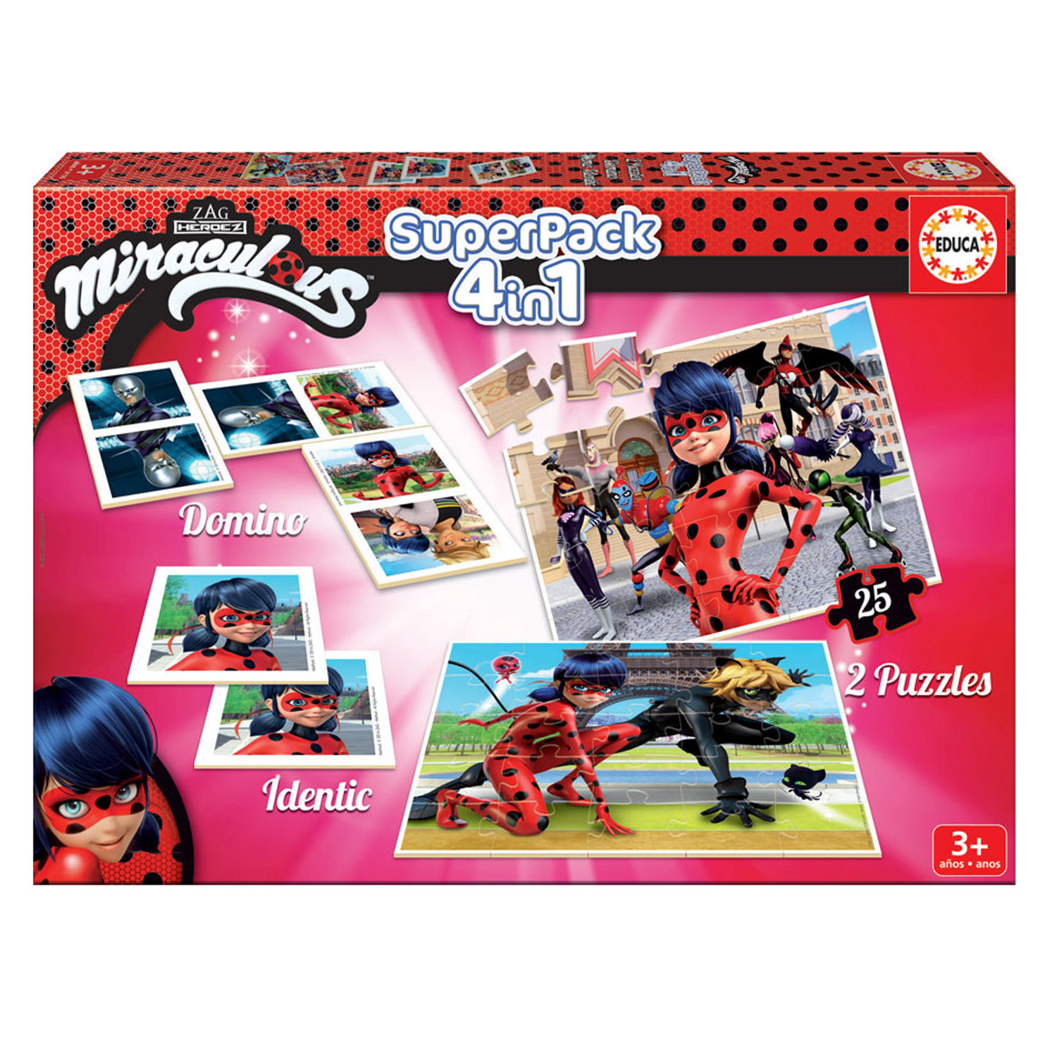 Superpack Miraculous Ladybug : Memory, puzzles et dominos