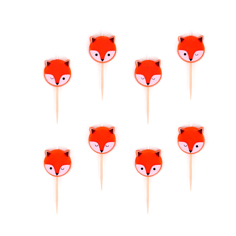 Lot de 8 bougies Mini renards