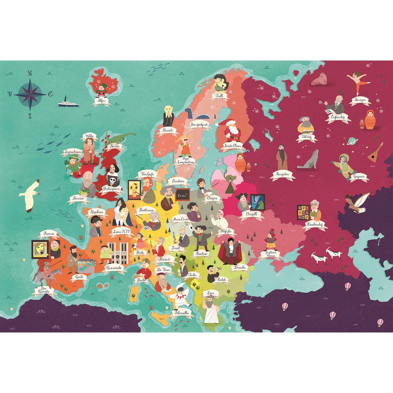 Puzzle 250 pièces : Supercolor : Europe - Célébrités