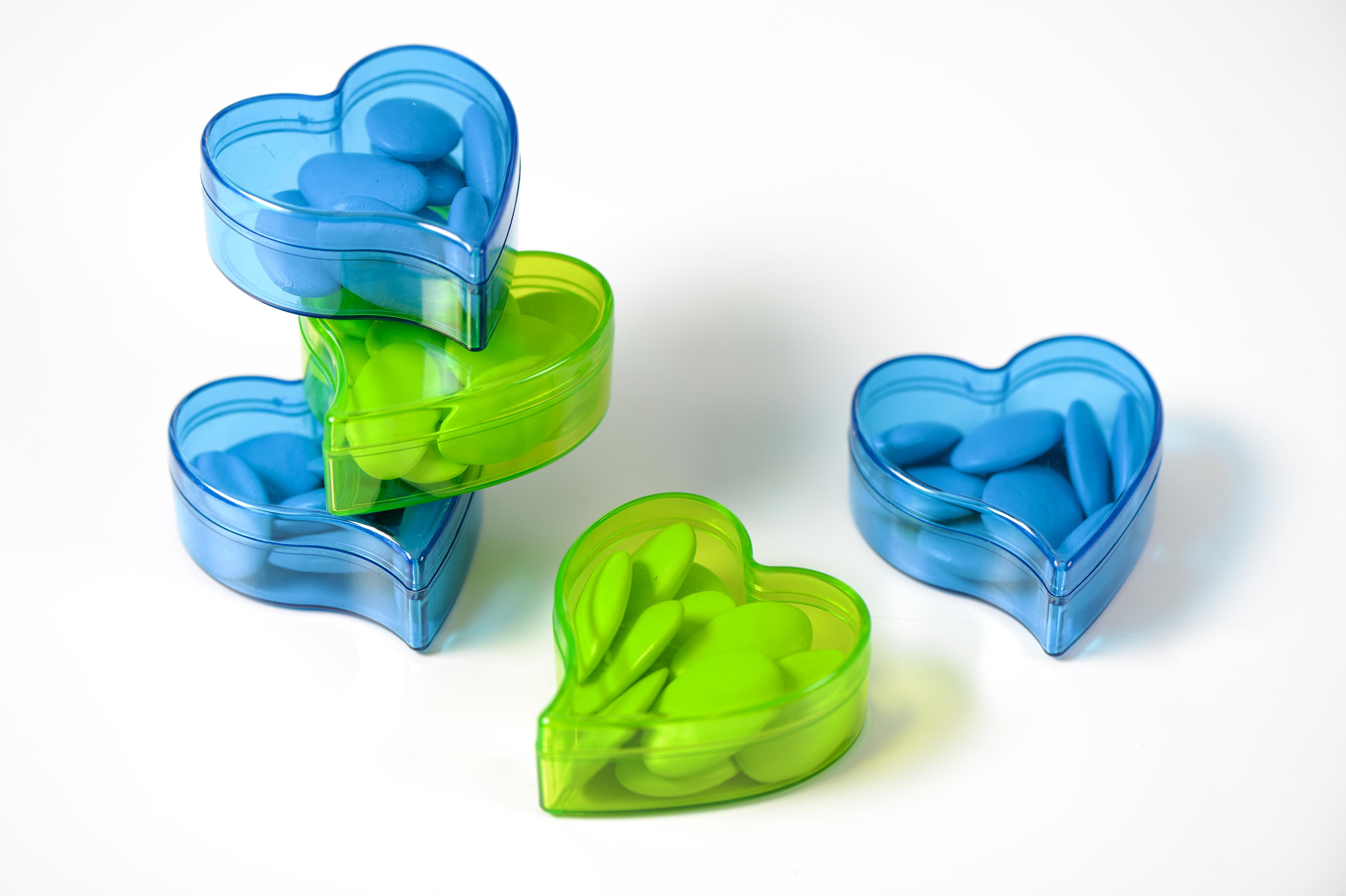 Boîte à Dragées Coeur Vert x6