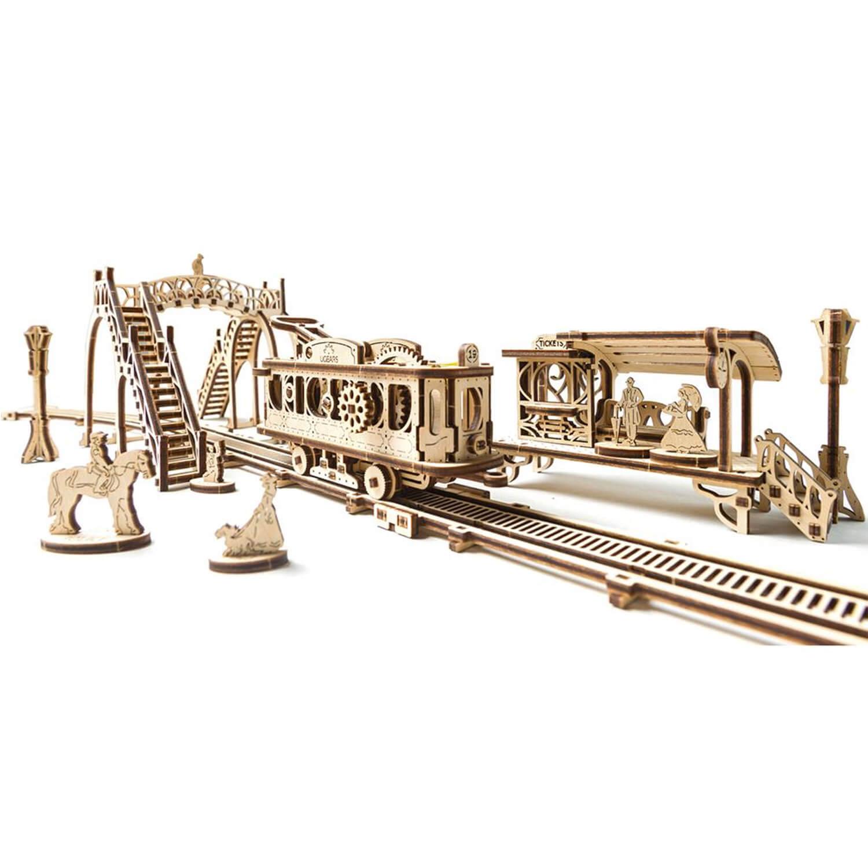 Maquette en bois : Ligne de tram, modèle mécanique