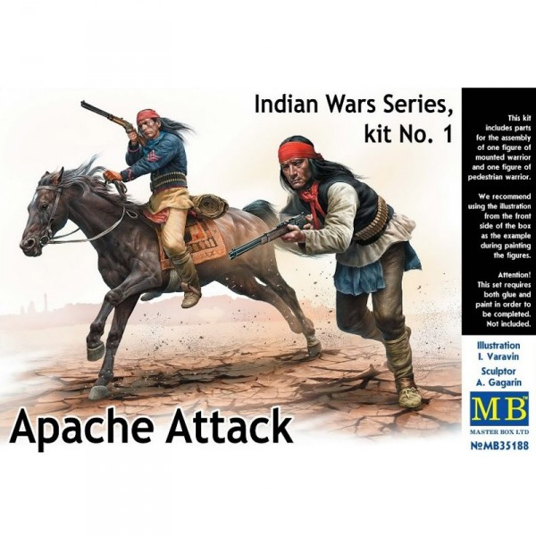 Figurines Indiens : Indian Wars Series kit n°1 : Attaque apache - Master-MB35188