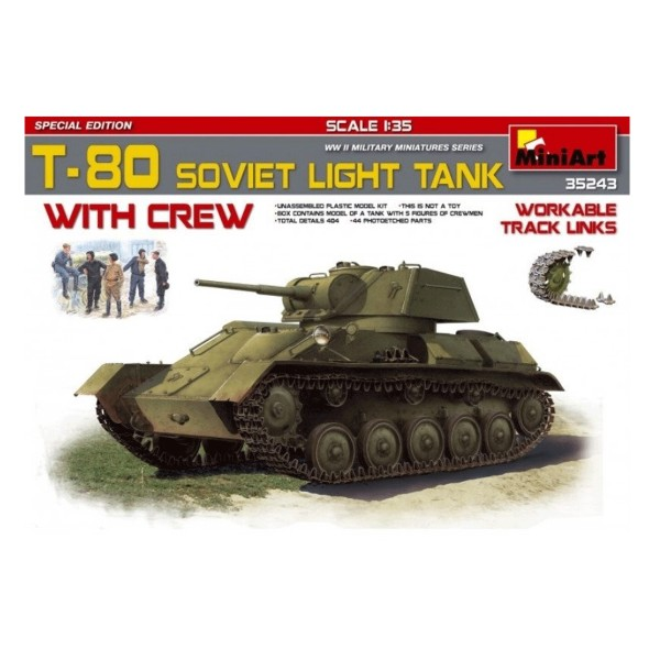 Maquette Char : T80 Soviet Light Tank - Miniart-MINI35243