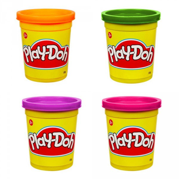 Pâte à modeler Play-Doh : 4 pots de couleurs : Violet, vert orange, rose - Hasbro-22114-22873