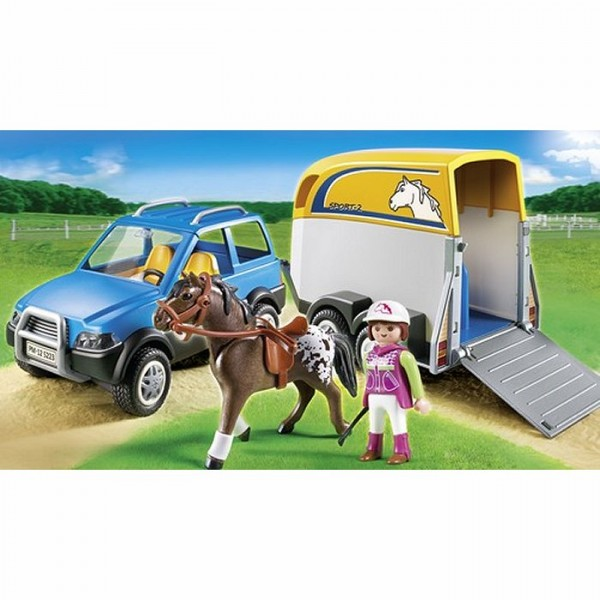 playmobil 5223 voiture avec remorque et cheval avenue des jeux. Black Bedroom Furniture Sets. Home Design Ideas