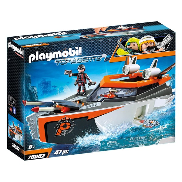 Playmobil 70002 Top Agents :  Bateau Turbo Spy Team - Playmobil-70002