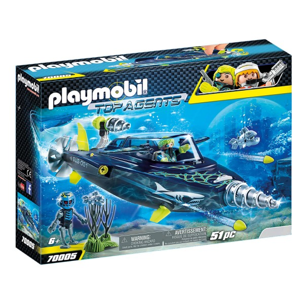 Playmobil 70005 Top Agents : Sous-marin d'attaque S.H.A.R.K Team - Playmobil-70005