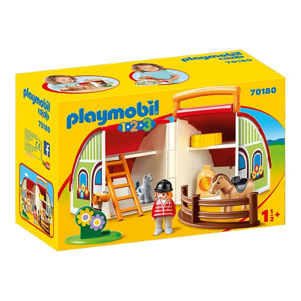 Playmobil 70180 1.2.3 : Centre équestre transportable - Playmobil-70180