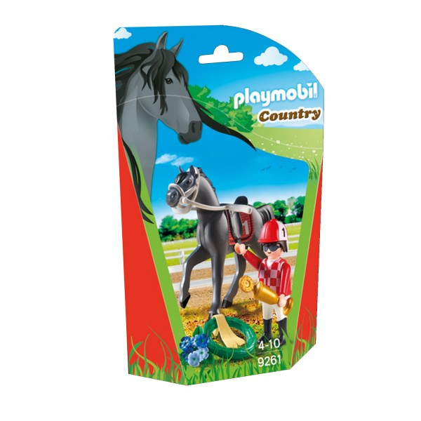 Playmobil 9261 Country : Jockey avec cheval de course - Playmobil-9261