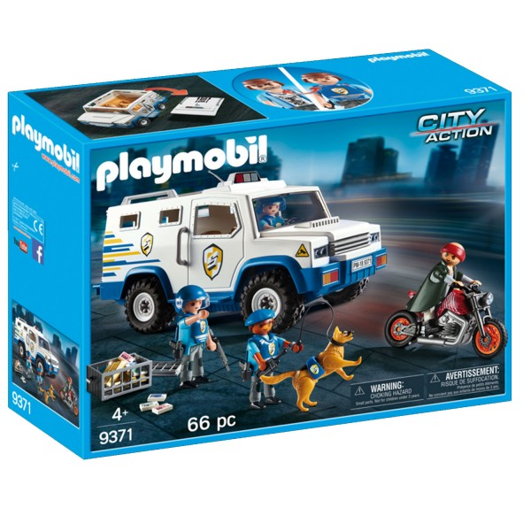 Playmobil 9371 City Action : Fourgon blindé avec convoyeurs de fonds - Playmobil-9371