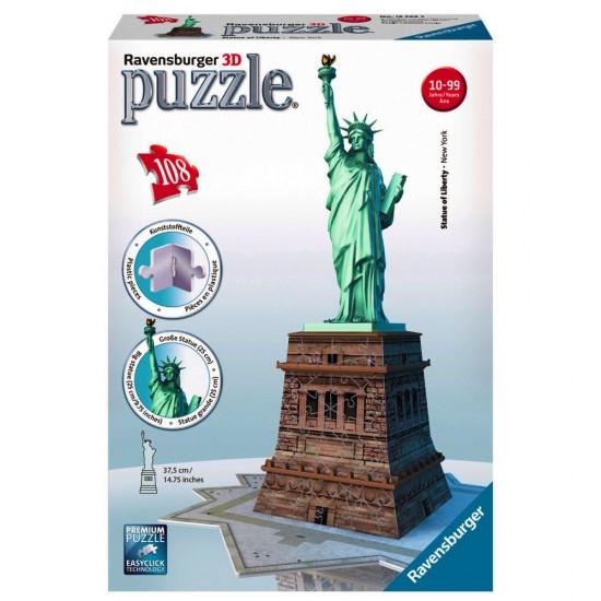puzzle 108 pi ces 3d la statue de la libert puzzle ravensburger rue des puzzles. Black Bedroom Furniture Sets. Home Design Ideas