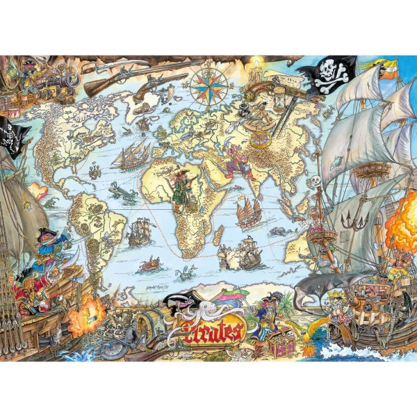 Puzzle 200 pièces : Carte de pirates - Ravensburger-12802