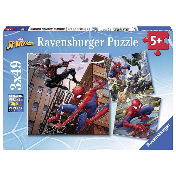 Puzzle 3 x 49 pièces : Spiderman en actionr - Ravensburger-08025