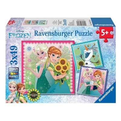 puzzle 3 x 49 pi ces l 39 hiver d 39 elsa la reine des neiges frozen jeux et jouets. Black Bedroom Furniture Sets. Home Design Ideas