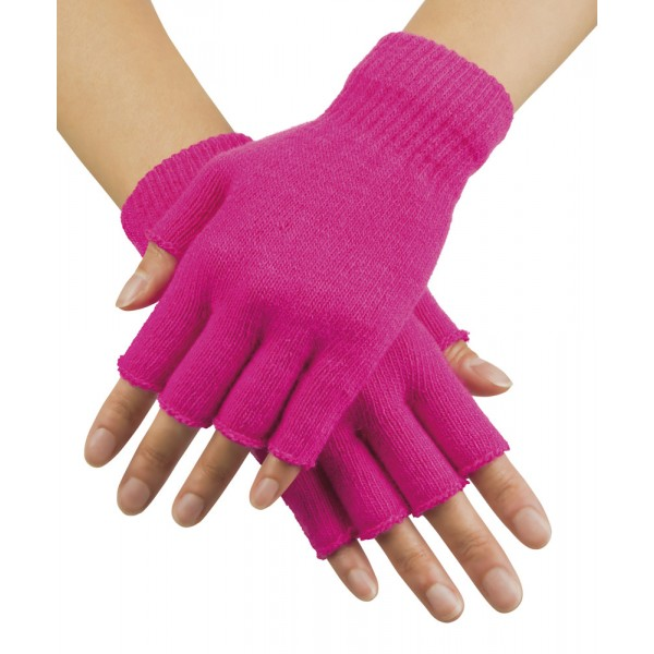 Gants Mitaines Rose Fluo - Adulte - 01906