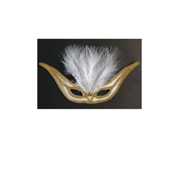 Loup Domino Plumes Blanches - 6472R_BLANC