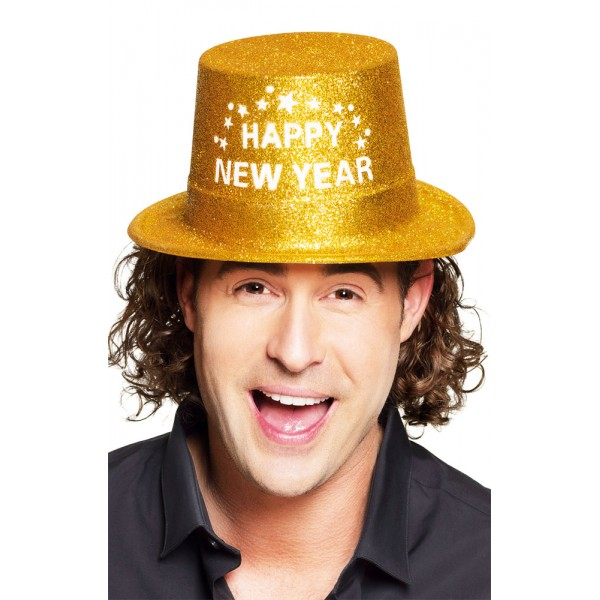 Chapeau - Happy New Year - Doré - 13453